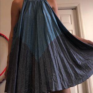 blue flowy free people dress